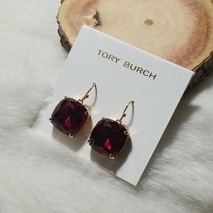Tory Burch red crystal drop earrings